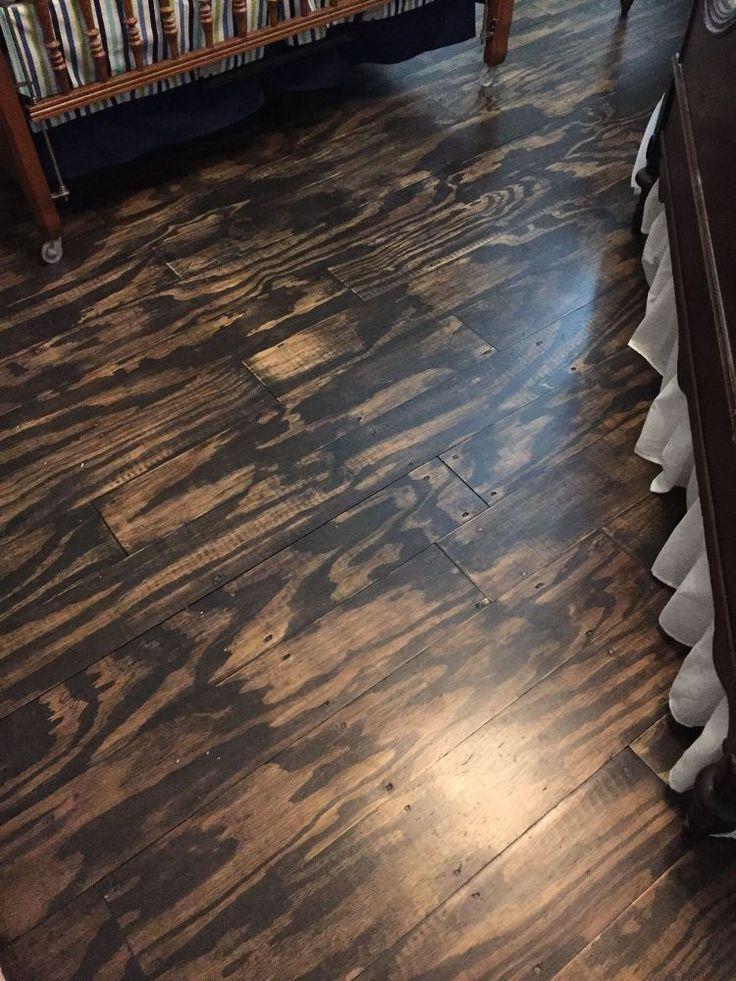 DIY Plywood Plank Floors ~Plywood ~Liqid Nails ~Nail Gun ~Palm Sander ~Polyurethane Stain ~Polyurethane Satin Finish~ Cost: $225