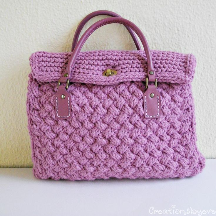 Knitting Bag Pattern Pinterest : textured bag knitted with woven pattern USD5.00 Knit - Hand/Tote Bags Pinte...