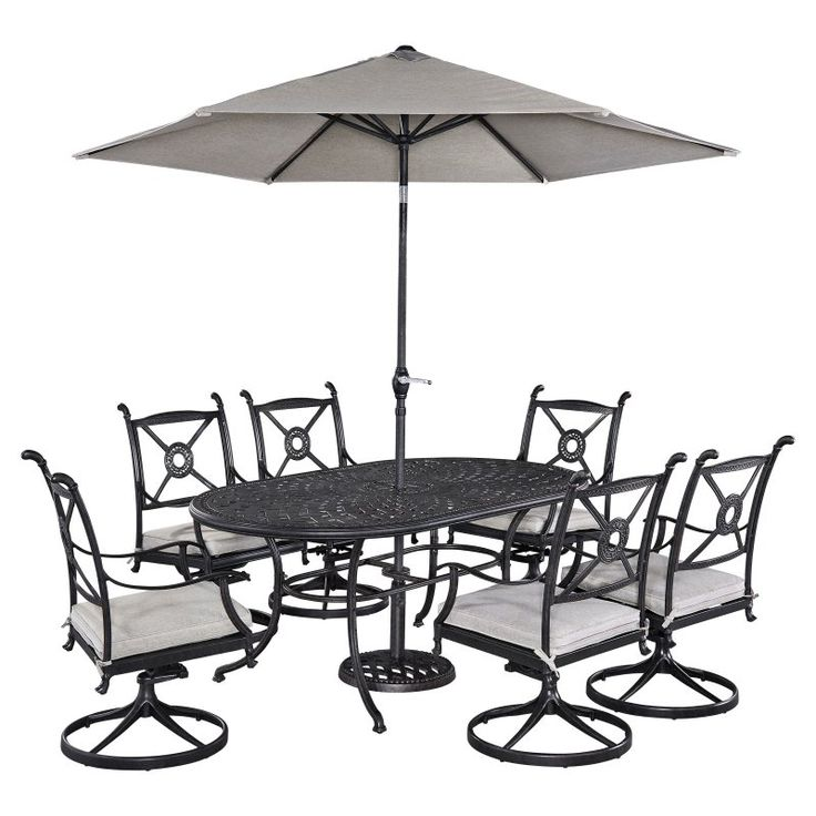 Home Styles Athens Cast Aluminum 7 Piece Oval Patio Dining Set With  Optional Umbrella   5569