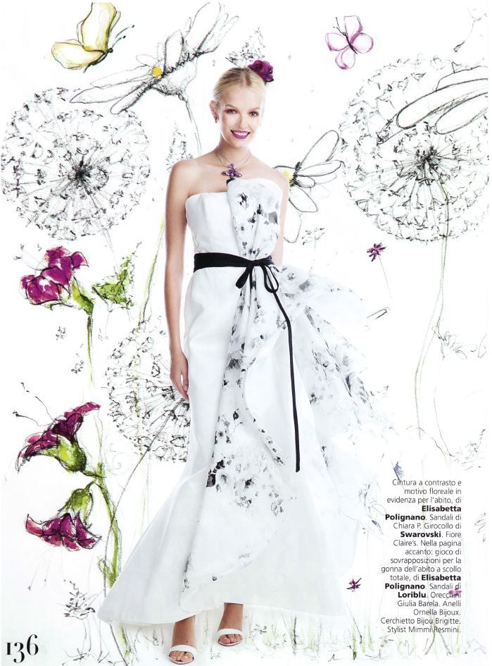 On @Vogue Sposa: cintura a contrasto e motivo floreale in evidenza! #voguesposa #ElisabettaPolignano #weddingdres #EPsposa2016