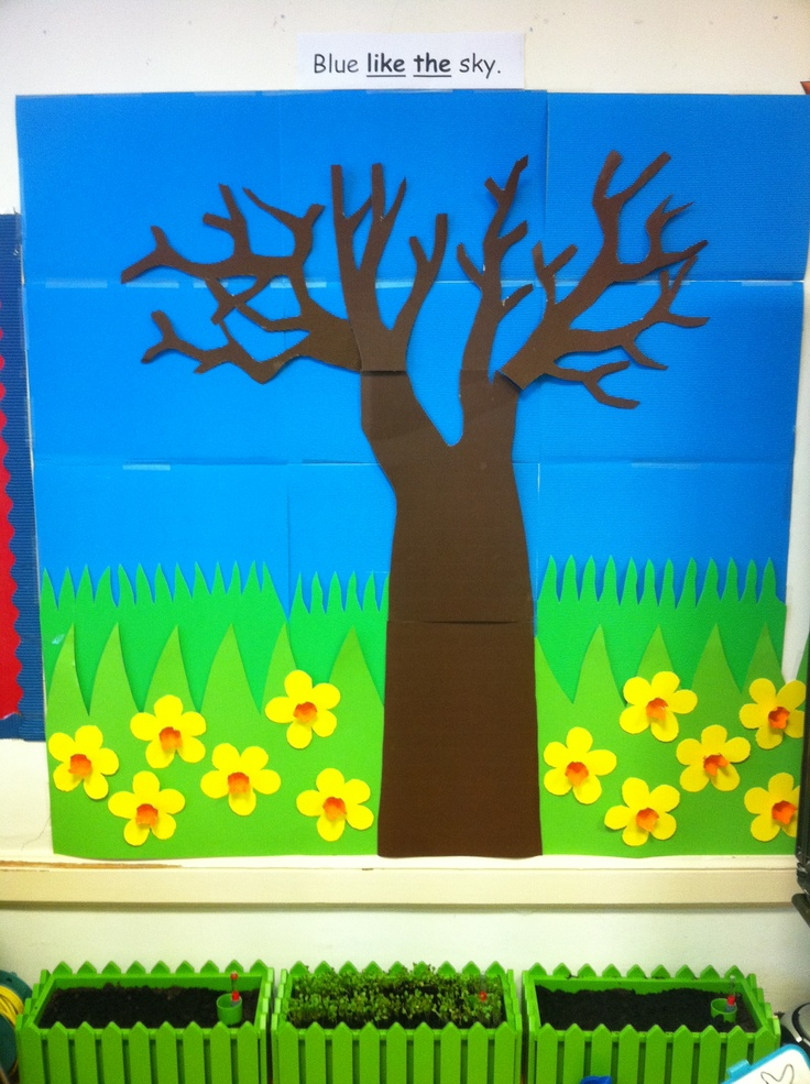 Spring time display & Garden Centre- the pupils made Daffodils out of yellow cardboard and painted egg holders orange.