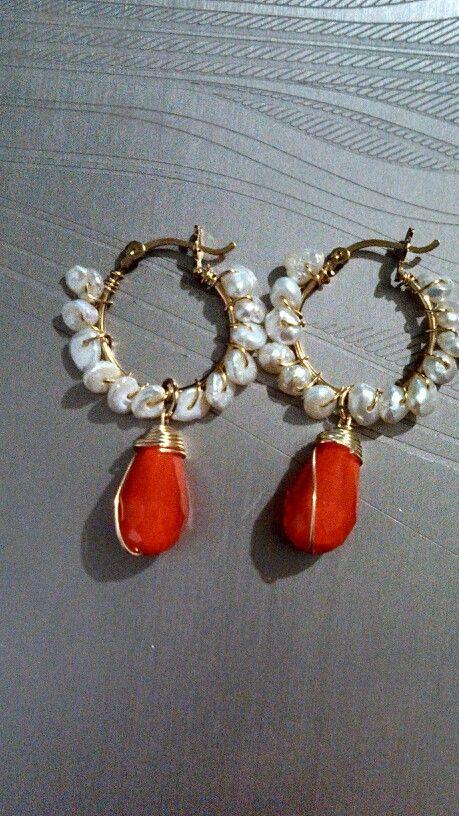 Arracadas chapa de oro y perla de rio