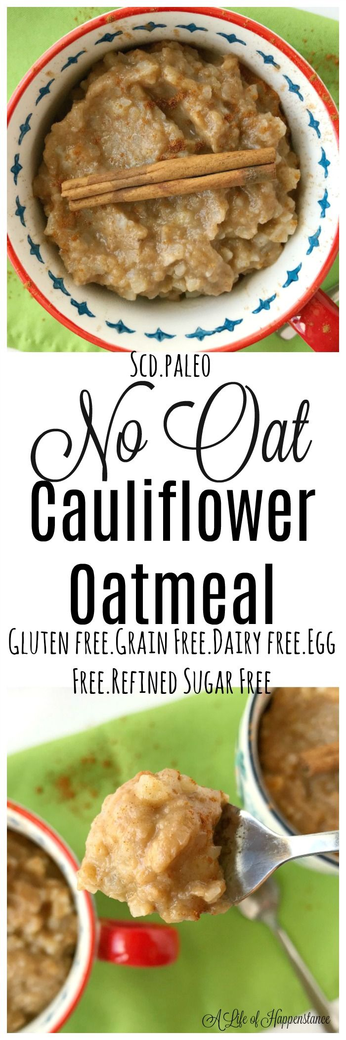 An easy and tasty bowl of oatmeal without the oats! Cauliflower is used instead of oats to recreate a classic breakfast comfort food that's healthy. This dish is gluten free, grain free, refined sugar free and egg free. It's SCD and Paleo.