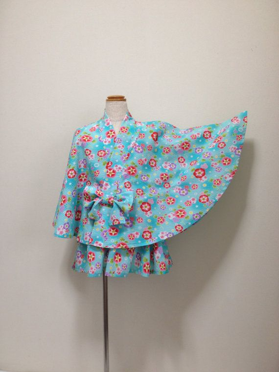 Kawaii kids kimono poncho and mini skirt set by KimonoPonchoCom
