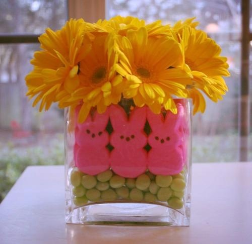 Peeps centerpiece: Holiday, Easter Centerpieces, Easter Table, Cute Ideas, Easter Decor, Jelly Beans, Flower, Center Piece, Easter Ideas