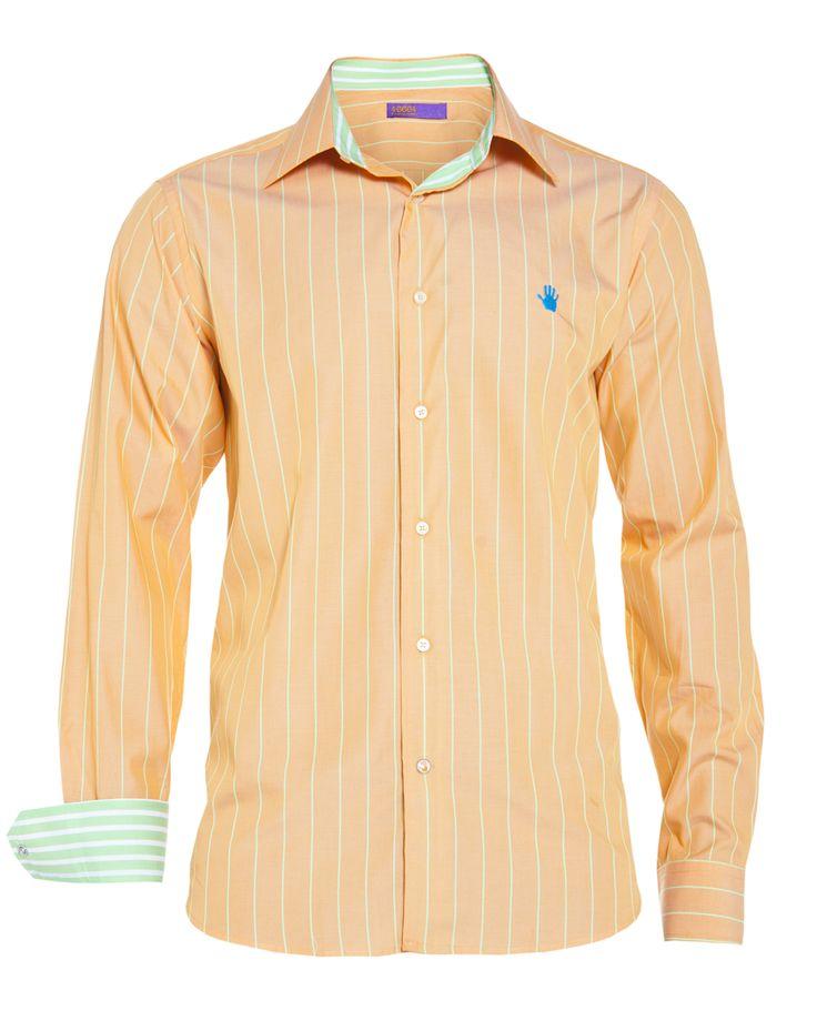 Men's orange stripe shirt, available at www.46664fashion.com