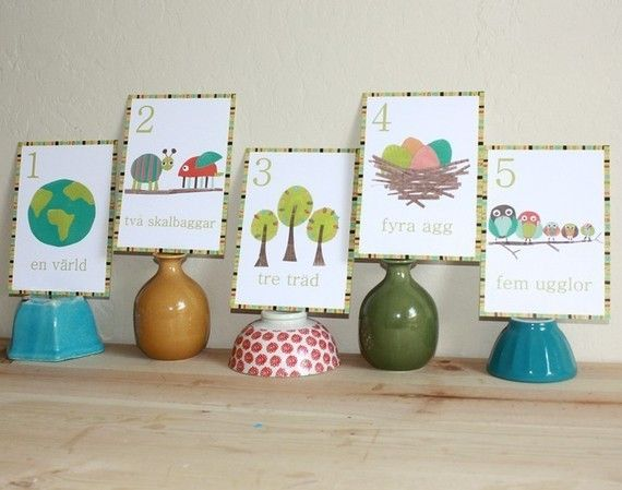 Swedish Numbers Nature Themed Wall Cards, 5x7 prints, Gender Neutral, Nature Theme, Children's Art, Nursery Decor, A