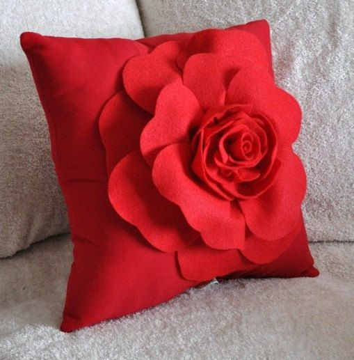 throw pillow red rose on red pillow by bedbuggs on etsy