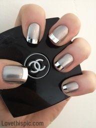 silver tips nails silver glamorous nail art girlie silver tips