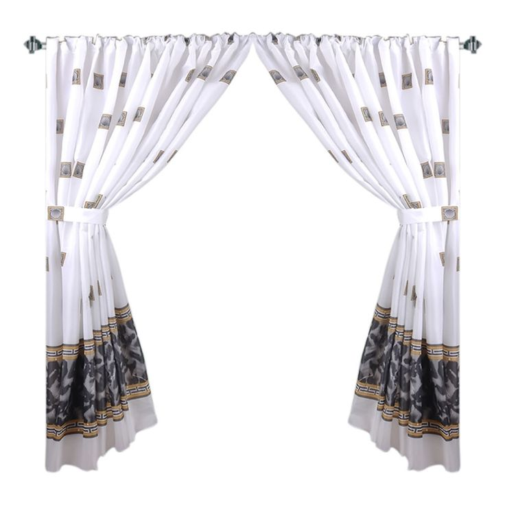 """Faux Marble & Tile Pattern 34""""x54"""" Fabric Window Curtain with Tie-Backs, Black"""