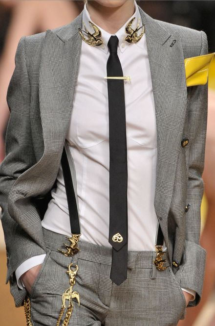 The suit with tie and suspenders, but no crazy gold birds. And solid grey!   I'd get married in this lol