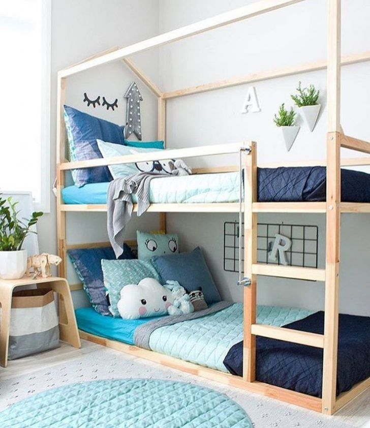 Can't decide on one, two or even three shades of blue? No problem! Mix them all in and create a happy blue space for boy or girl like in this room.  http://petitandsmall.com/ideas-decorating-kids-room-blue/ #kidsroom