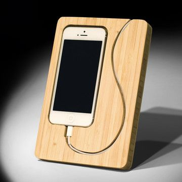 Chisel iPhone 5 Dock is handcrafted from bamboo. Father's Day gift idea.