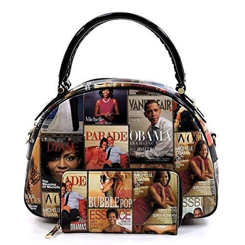 d9a2ecc739f6 Glossy Magazine Cover Collage 2-in-1 Dome Satchel & Wallet Set ...