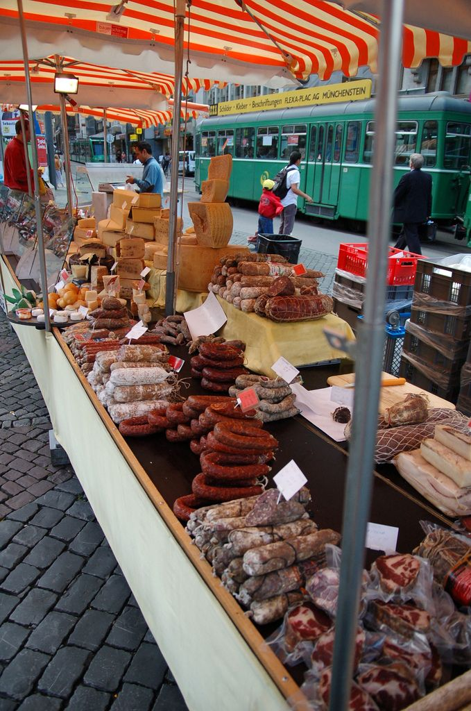 Sausages at the farmers market, Basel, Switzerland