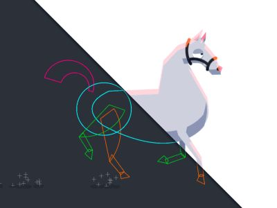Part of a series of animation I did a few weeks ago. I thought it might be fun to show the layer outlines so folks who are interested in that sort of thing can see how it's put together.  The horse...
