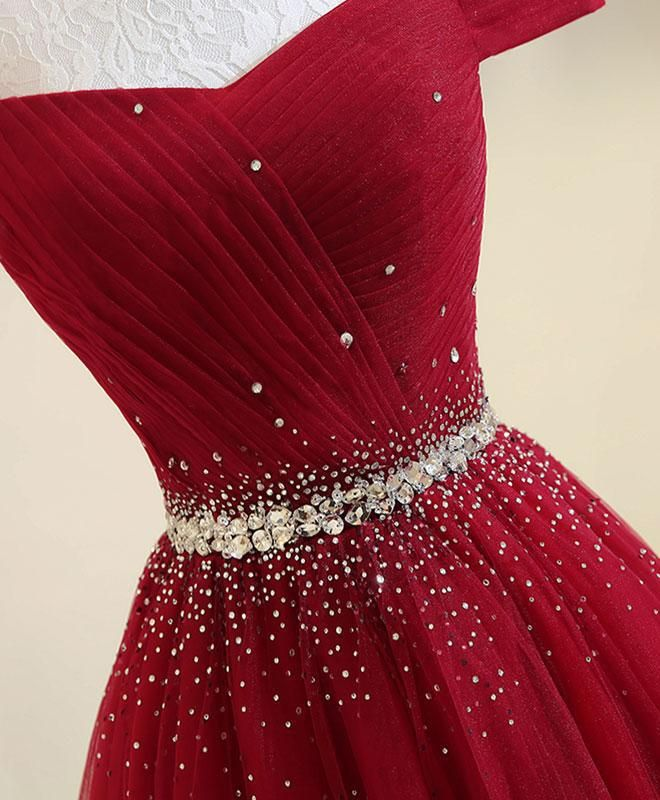 fd2166ff869 A Line Long Red Tulle Off the Shoulder Lace up Bowknot Floor Length Prom  Dresses uk PW140 on sale – PromDress.me.uk