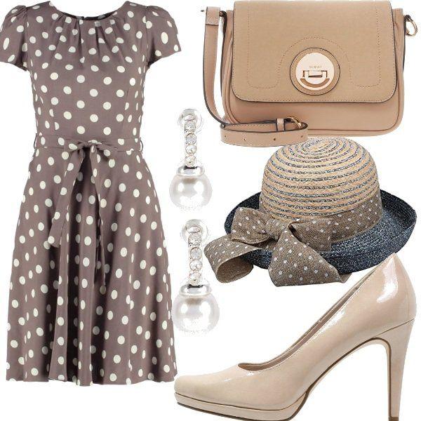 """Outfit+ispirato+a+Julia+Roberts+nel+film+""""Pretty+woman"""".+Lo+potrete+indossare+per+un'uscita+pomeridiana+oppure+per+un'occasione+formale,+ma+non+troppo.+E'+composto+da+abito+color+taupe+con+pois+bianchi+e+cintura+in+vita,+décolleté+con+leggero+plateau+color+beige,+borsa+a+tracolla,+orecchini+con+perla+e+cappellino+con+nastro+a+pois."""