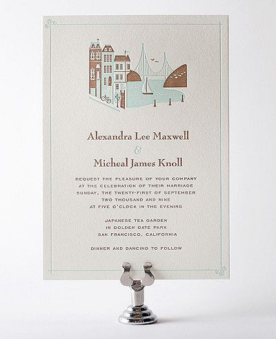 Visit San Francisco Letterpress Wedding Invitation By Hello Lucky