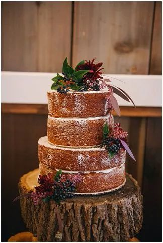 Barn reception naked cake | Amanda Adams Photography | see more at http://fabyoubliss.com