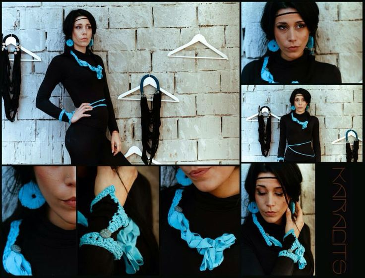 Turquoise fabric necklace/bracelet/earrings