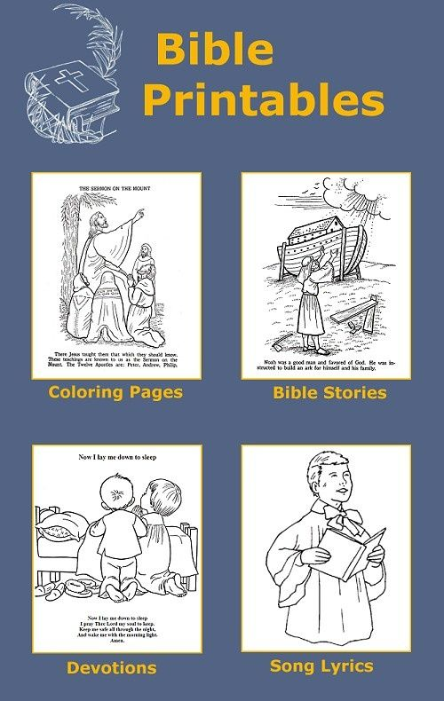 Bible coloring pages, printable Bible stories, prayers and