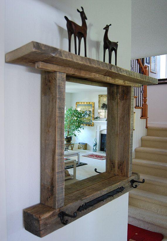 Reclaimed wood mirror shelf rack, rustic mirror, Beach House, Primitive, rustic mirror rack, Nautical, Shabby Chic, steampunk, weathered via Etsy