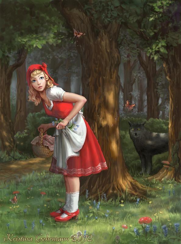 Grimm s fairytales 1 little red riding hood - Digital Art by Kristina Gehrmann