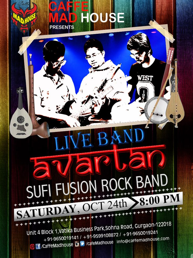 Caffe Mad House brings you Live Performance by Avartan Band . Come enjoy the Live music & be taken on a Fusion ride while you sip on the lip smacking cocktails and food. #SaturdayNight #LiveBand #Cocktails #Foodiesm