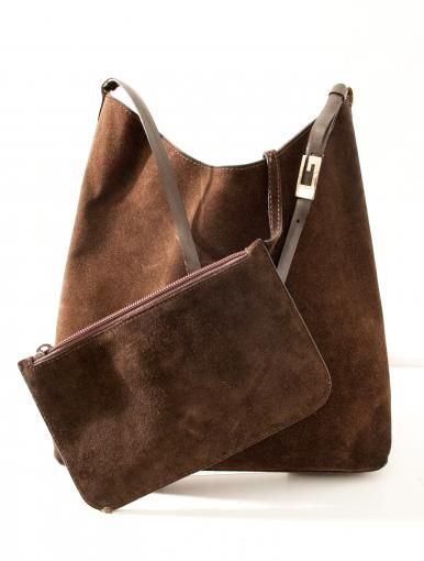 Original vintage Gucci bag in suede - adjustable leather handle - leather interior - including clutch
