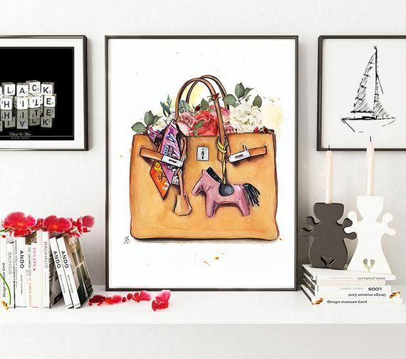 Hermes Illustration Hermes Wall Art Hermes Birkin Print Hermes Watercolor Hermes Bag Hermes Art Fash Etsy Prints Fashion Art Illustration Art Deco Bride