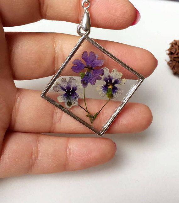 dried flowers pendant purple flowers in necklace purple dry