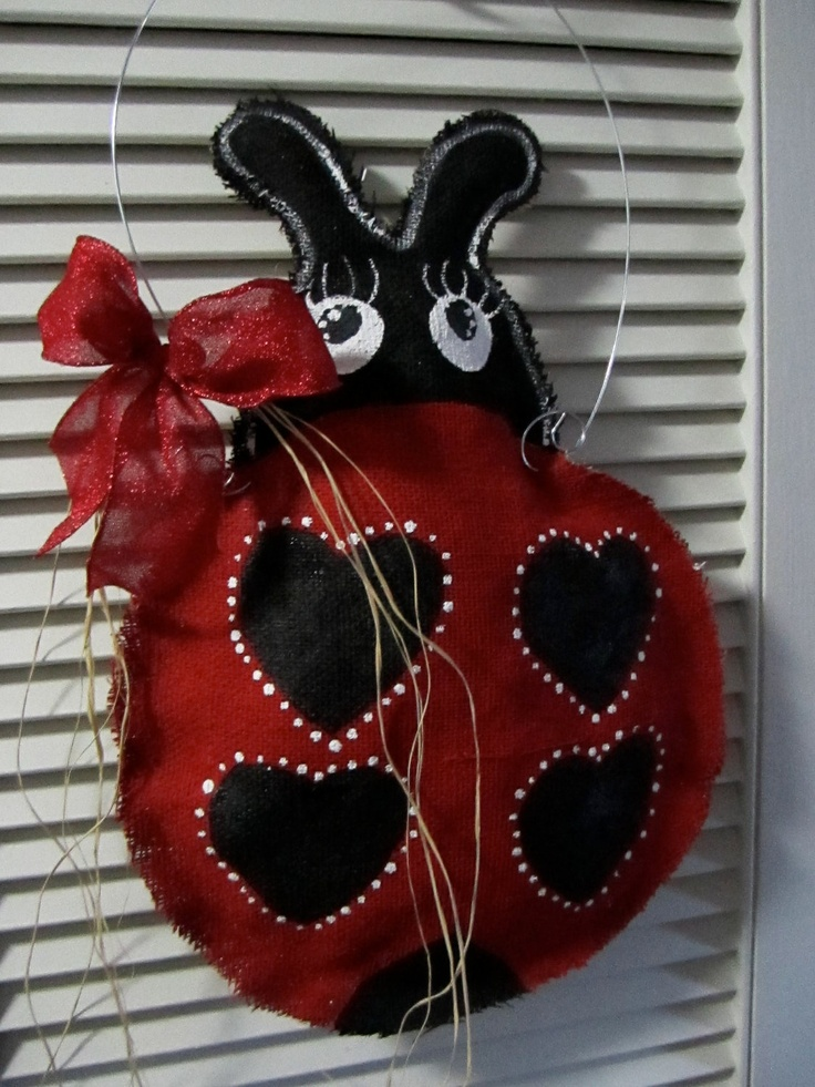 Ladybug Natural Burlap Door Hanger Door Decoration by nursejeanneg, $25.00