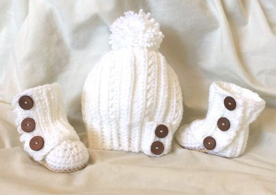 Baby Girl Hat and Wrap Around Boots Set by PolkaKnotted on Etsy https://www.etsy.com/listing/251903521/baby-girl-hat-and-wrap-around-boots-set