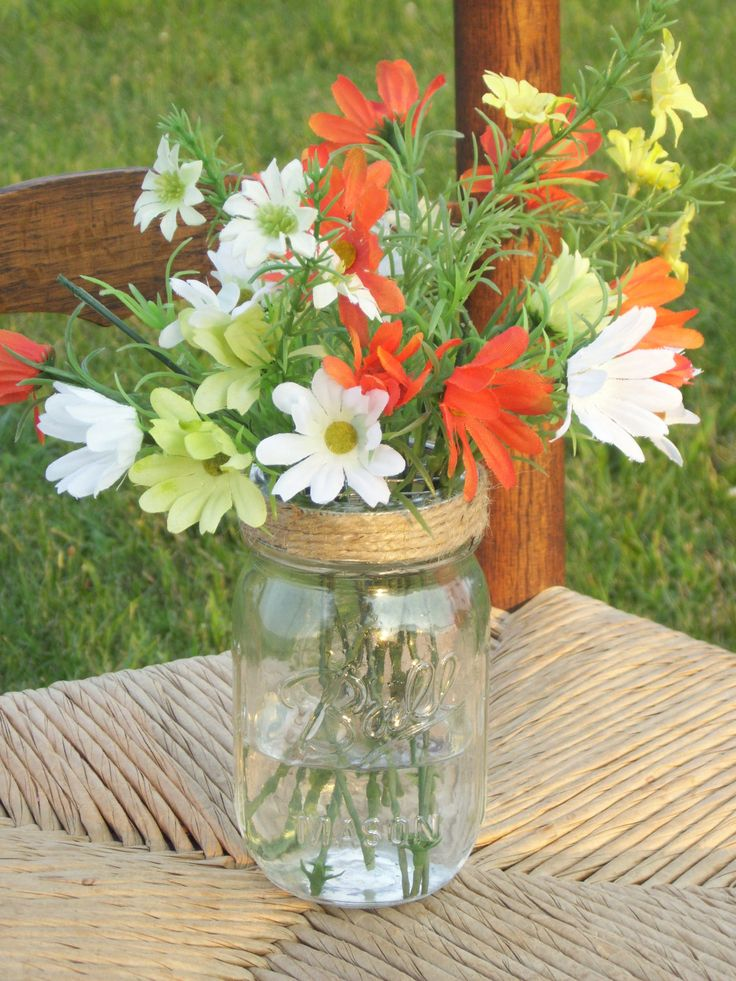 pictures of wedding centerpieces using mason jars%0A Items similar to   Mason Jar Flower Lids Frog Mason Jar Lids Twine Covered  Country Mason Jar Wedding Centerpiece Decoration New To Etsy on Etsy