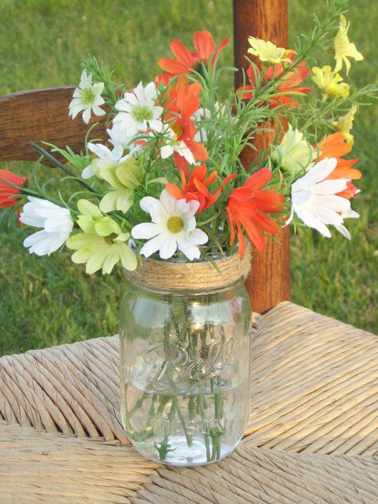 Mason jar flower lids frog twine covered