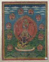 Thangka depicting Avalokitesvara (?) Nepal, 19th-20th Century