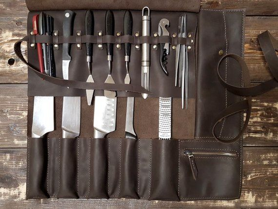Knife Roll Leather Bag Chef