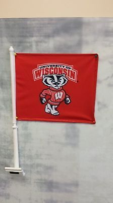 "2-Wisconsin Badgers CAR FLAGs 11"" x 15"" x 20"" Window Roll Up Banners + poles"