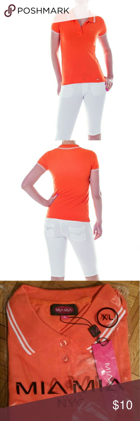 "Mia Mia Junior Polo Shirt, Orange New, packaged Polo Shirt in a bright orange. Perfect for a young lady venturing out to a sports outing. 100% Cotton. Size XL: 18"" across under the armpits (so 36"" around the chest),  25"" total length,   20"" neck circumference approx. Mia Mia Tops Tees - Short Sleeve"