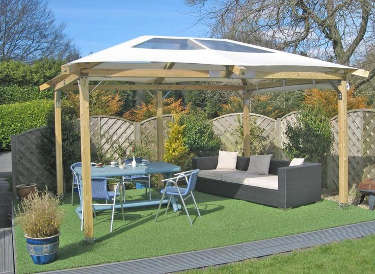 Adorable Slopping Wooden Gazebo Canopy Decors Set On Green