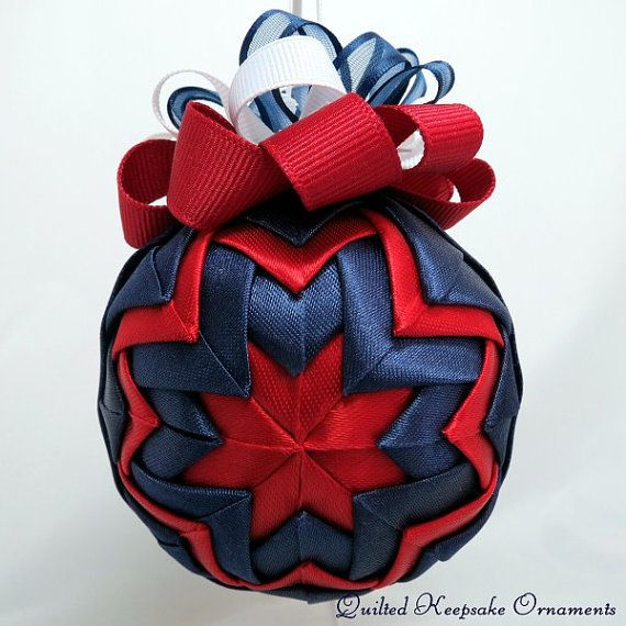 Quilted Christmas Ornament  Red and Blue by QuiltedKpskOrnaments, $24.00