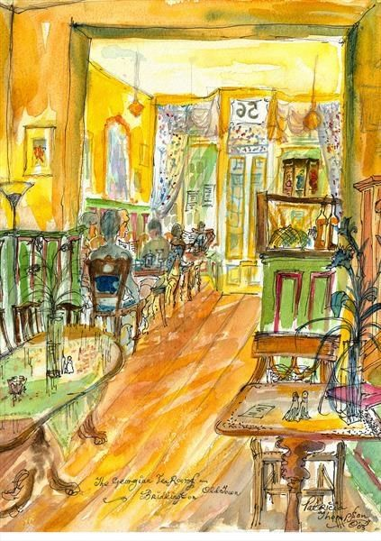TAKING TEA - In the Georgian Tea Rooms, Old Town, Bridlington, East Yorkshire. You can almost hear the chink of the crockery and chatter of conversation in this lovely painting by Patricia Thompson. #tea #afternoontea #art