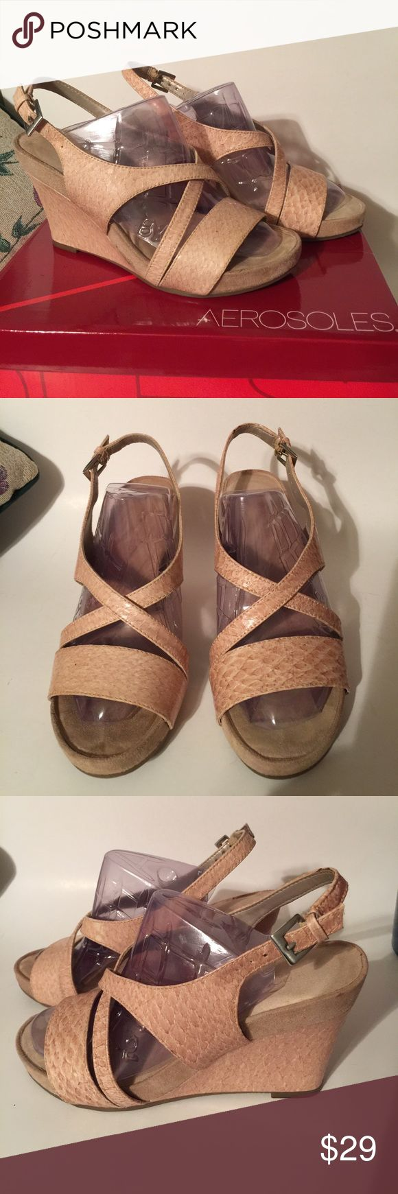 Aerosoles shoes sandals 7.5 medium tan women's Aerosol shoes sandals 7.5 medium. Color tan. Worn once. Pre-loved in excellent condition. Women's Ladies Fashion. Check out my closet, we have a variety of women's, Victoria Secret, handbags 👜 purse 👛 Aerosoles, shoes 👠fashion jewelry, necklace, clothing, dress, Beauty, home 🏡 .  Ships via USPS. Smoke & Pet-Free. Offers 30% OFF bundle discount. Always a FREE GIFT 🎁 with every purchase!!! Thank you. AEROSOLES Shoes Sandals