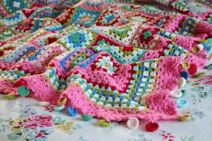 I just love the colors and the clever circle pom-poms | Cherry Heart: Dolly Mixture Blanket