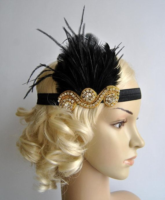 Gold and Black The Great Gatsby,20's flapper Headpiece, Bridal 1920s Headpiece ,1930's, Rhinestone headband, Rhinestone flapper headpiece
