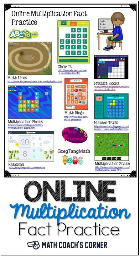 Grab a free flyer you can provide parents with links to online multiplication fact practice games for kids to play at home!