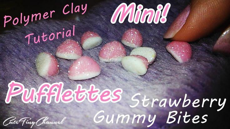 Mini Pufflettes Strawberry✿Polymer Clay Tutorial /Gominola Besitos de fr...
