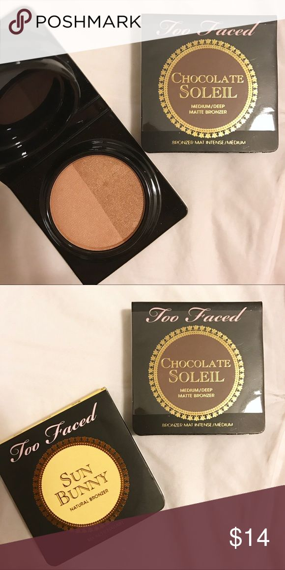 New Two Faced Bronzer travel size makeup bundle New, unused Two Faced Bronzer travel size makeup bundle in Sun Bunny and Chocolate Soleil.  Sun Bunny creates a natural bronze glow for all skin tones.  Chocolate Soleil is a matte cocoa powder-infused bronzer in a universal shade. Sephora Makeup Bronzer