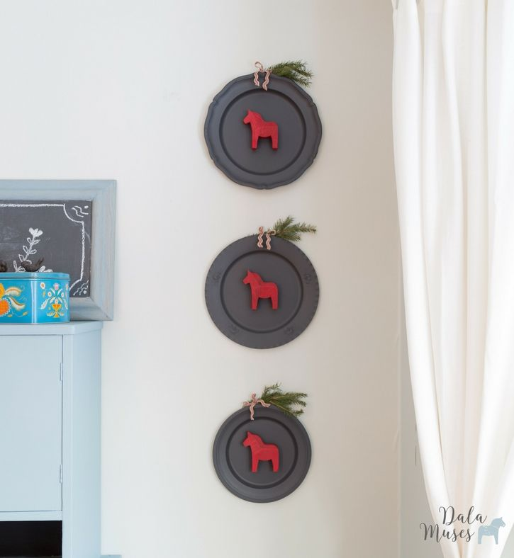 Repurposed plates with Dala horses- Dala Muses